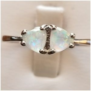 Dual White Fire Opal Ring Size 9